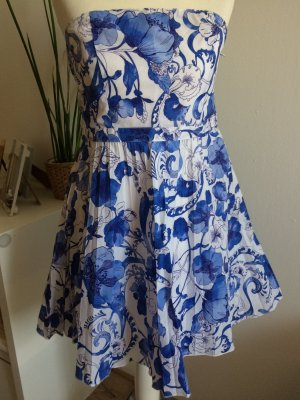H&M Sommer Kleid 36 S neu plissiert Plissee bandeau floral Blumen
