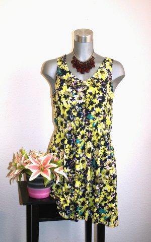 H&M Sommer Kleid gr. 38/40 Flower Muster Gelb/Blau/Grün