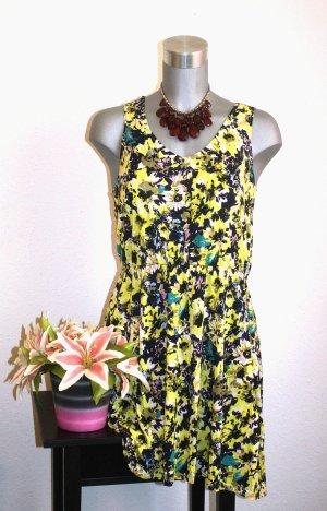 H&M Sommer Kleid gr. 38/40 Flower Muster Grün/Gelb