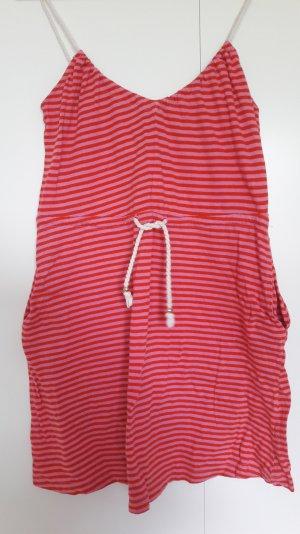 H&M Sommer Kleid kurz gestreift pink rot Kordel Gr. XS
