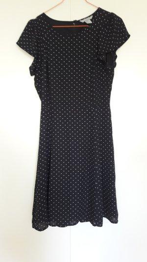 H&M Sommer Kleid schwarz weiß gepunktet ausgestellter Rock Chiffon Gr. 36
