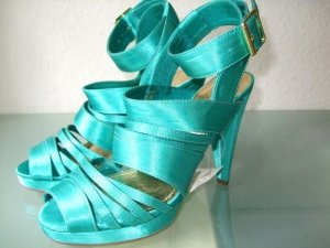 H&M Strapped High-Heeled Sandals turquoise-gold-colored