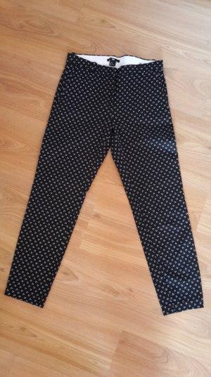 H&M Pantalon 7/8 blanc-noir coton