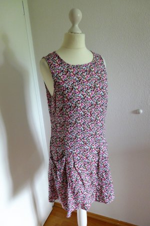 H&M Sommerkleid Blüten Blumen pink schwarz weiß Gr. 36/38