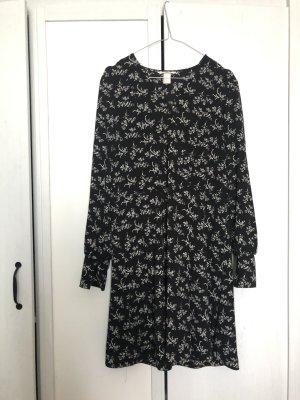 H&m Sommerkleid Blumen 34 schwarz weiß