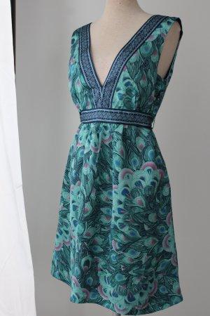 H&M Sommerkleid Gr. 36 S blau grün rückenfrei Kleid kurz Tunikakleid Pfauenfedern Feder