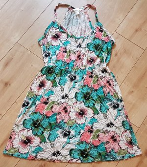 H&M Sommerkleid Hawaii Blüten Strand Türkis Lachs S 36