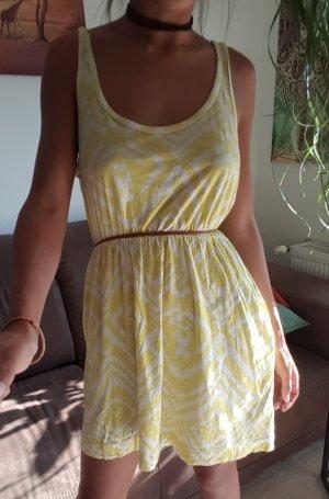 H&M Vestido playero amarillo pálido-blanco Algodón