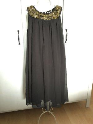 H&m Sommerkleid, schwarz, Gold, Perlen, 36