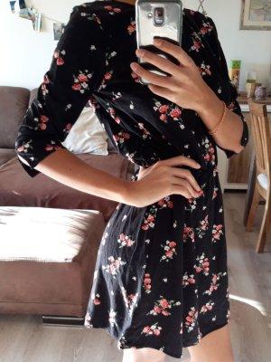 H&M Sommerkleid Schwarz mit Blumenmuster Größe 34
