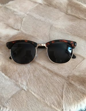 H&M Sonnenbrille Damen Brille Sunglasses Glasses Braun Nude Gold Tiger Muster Print Wayfarer NEU