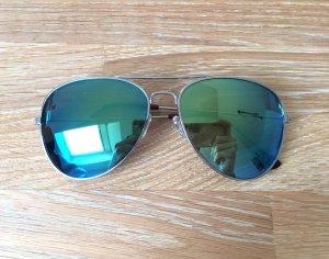 H&M Sonnenbrille Gestell silber braun Spiegelung grün gelb