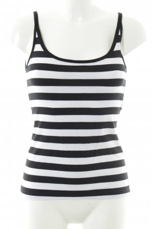 H&M Spaghetti Strap Top black-white striped pattern casual look