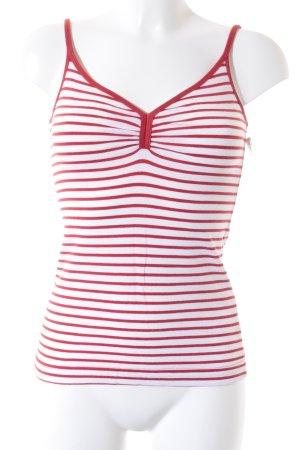 H&M Spaghettiträger Top rot-weiß Streifenmuster Casual-Look