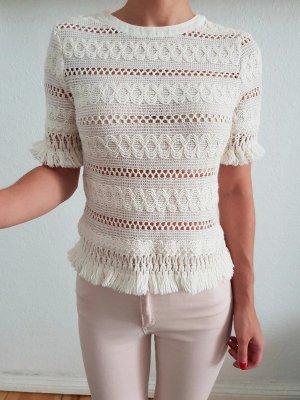 H&M Spitze Bluse XS S 32 34 nude Häkel Peplum Hemd Shirt Top Oberteil Tunika neu