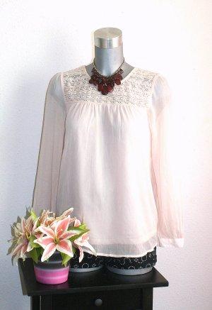 H&M Spitzen Bluse gr. 42 Rosé Transparent Look