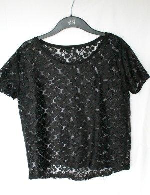 H&M Spitzen T-Shirt schwarz