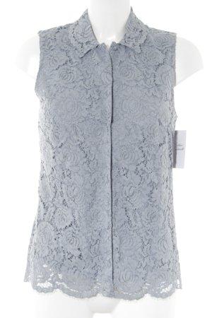 H&M Kanten blouse leigrijs-lichtblauw bloemen patroon casual uitstraling