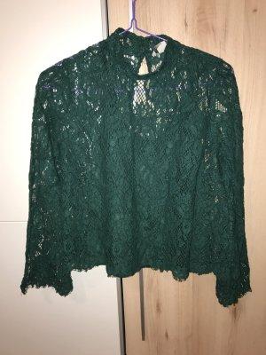 H&M Spitzenbluse in grün 38 Vintage langärmlig
