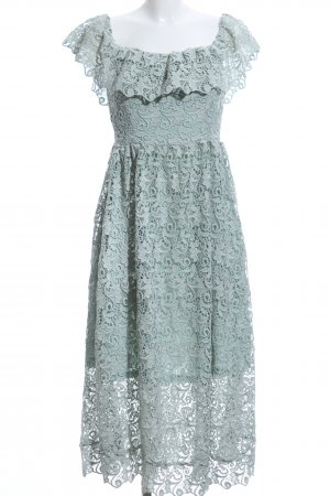 H&M Lace Dress sage green floral pattern casual look