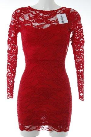 H&M Spitzenkleid rot Blumenmuster Elegant