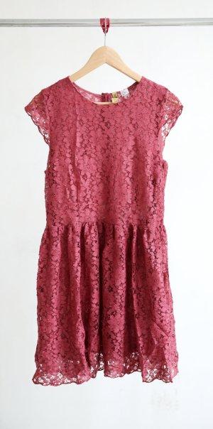 H&M Spitzenkleid rot/pink
