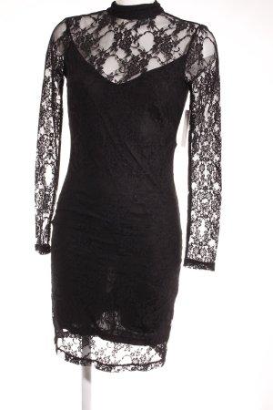 H&M Spitzenkleid schwarz florales Muster Casual-Look