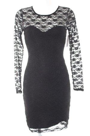 H&M Spitzenkleid schwarz florales Muster Elegant