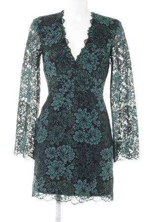 H&M Spitzenkleid schwarz-waldgrün Blumenmuster Casual-Look