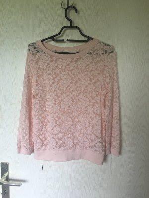 H&M spitzenpullover spitzenpulli Rosa neu XS logg Oberteil Rose pullover pulli Lace