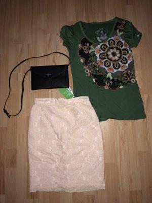 H&M Spitzenrock*Desigual Shirt * Mango Tasche