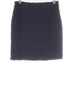 H&M Spitzenrock dunkelblau Ornamentenmuster Casual-Look
