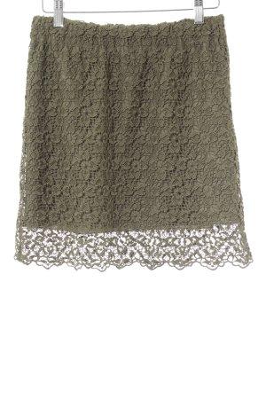 H&M Spitzenrock khaki florales Muster Romantik-Look