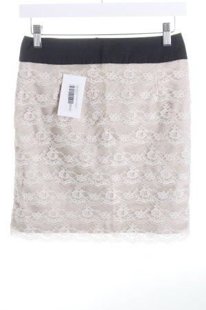 H&M Jupe en dentelle noir-beige clair style classique