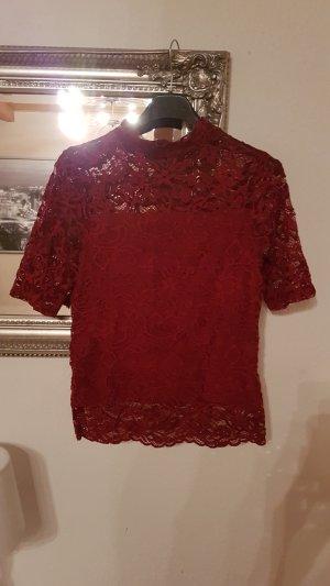 H&M Spitzenshirt rot
