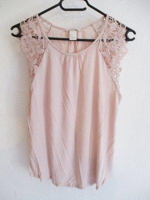 H&M Top de encaje rosa Poliéster