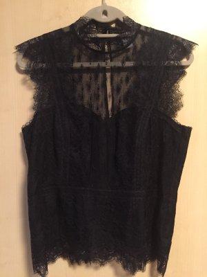 H&M Top de encaje negro poliamida