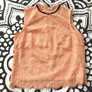 H&M Top di merletto albicocca-nero