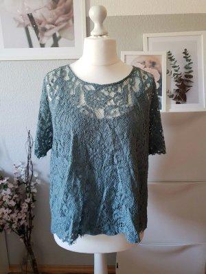 H&M Kanten blouse grijs-groen-lichtblauw Gemengd weefsel
