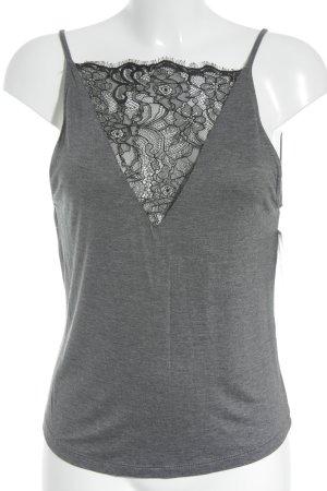 H&M Kanten topje zwart-donkergrijs romantische stijl
