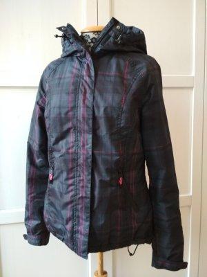 H&M Sport Jacke Gr. 36 Winterjacke Skijacke grau pink kariert Kapuzenjacke