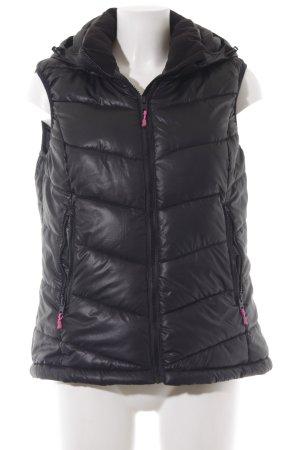 H&M Sport Chaleco con capucha negro-rosa estilo deportivo