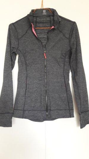 H&M Sport leichte Jacke Shirt mit Zipper grau meliert pink Stehkragen Gr. XS