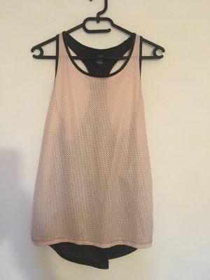 H&M Sport Shirt Top rosa schwarz