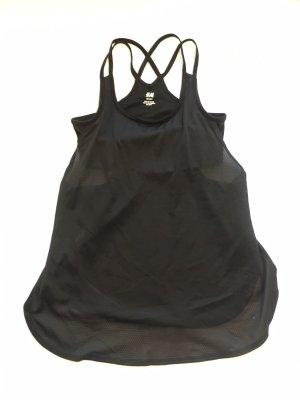 H&M sport top tanktop trägertop mit integriertem innen BH Bustier schwarz XS 34 mesh