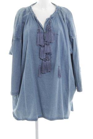 H&M Spring Collection 2014 Jeanskleid neonblau Jeans-Optik
