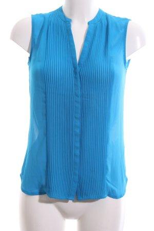 H&M Blouse met opstaande kraag blauw gestreept patroon zakelijke stijl