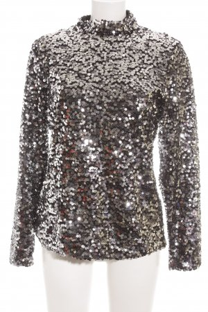 H&M Stand-Up Collar Blouse black-silver-colored glittery