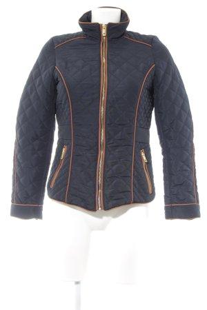 H&M Gewatteerd jack donkerblauw-bruin quilten patroon atletische stijl