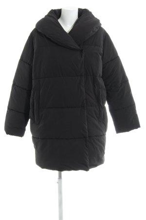 H&M Steppmantel schwarz Steppmuster Casual-Look